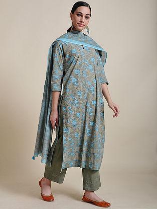 Blue Block Printed Cotton Kurta