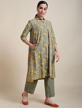 Yellow Block Printed Cotton Shirt Tunic with Box Pleats