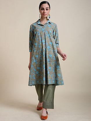 Blue Block Printed Cotton Shirt Tunic with Box Pleats