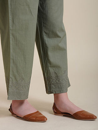Olive Cotton Pants with Quilted Embroidery