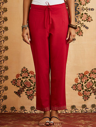 Red Embroidered Cotton Pants