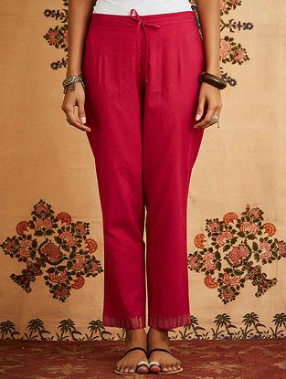 Fuschia Embroidered Cotton Pants