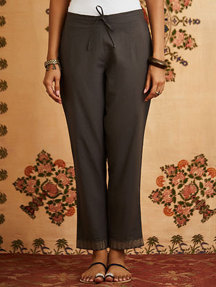 Grey Embroidered Cotton Pants