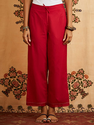 Red Embroidered Cotton Pant with Chanderi Detailings