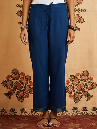 Indigo Embroidered Cotton Pant with Chanderi Detailings