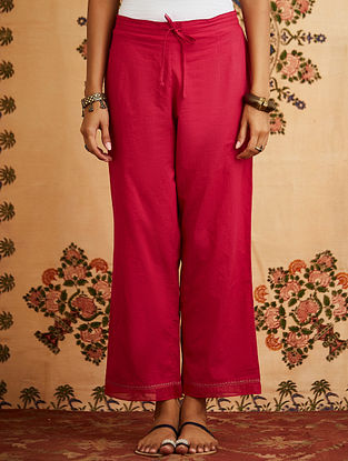 Fuschia Embroidered Cotton Pant with Chanderi Detailings