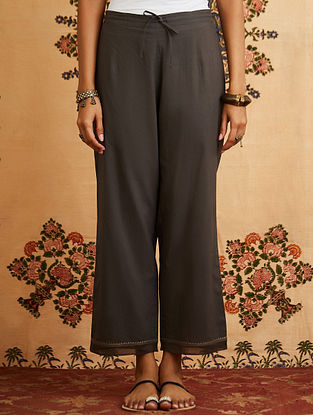 Grey Embroidered Cotton Pant with Chanderi Detailings