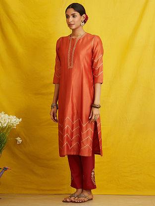 Orange Embroidered Silk Chanderi Kurta with Cotton Lining