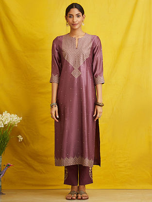 Purple Embroidered Silk Chanderi Kurta with Cotton Lining