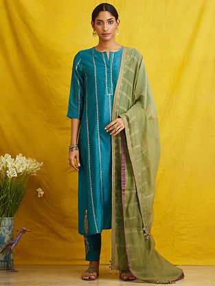 Teal Embroidered Silk Chanderi Kurta with Cotton Lining