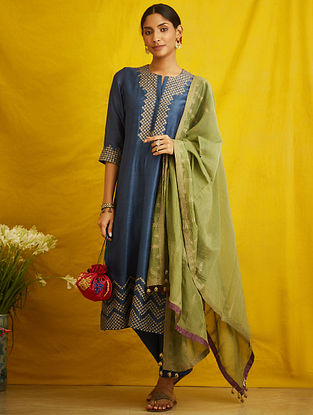 Indigo Embroidered Silk Chanderi Kurta with Cotton Lining