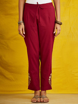Wine Embroidered Cambric Pants