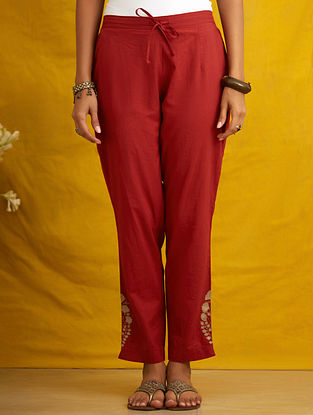 Rust Embroidered Cambric Pants