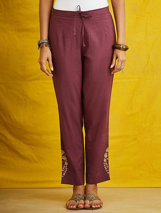 Purple Embroidered Cambric Pants