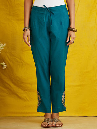 Teal Embroidered Cambric Pants