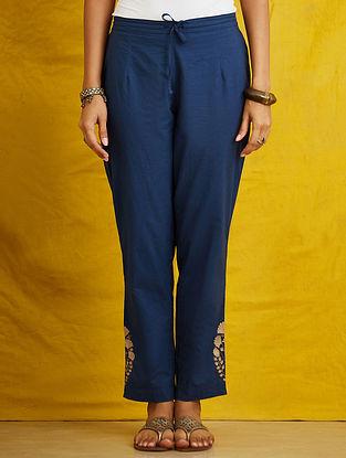 Indigo Embroidered Cambric Pants