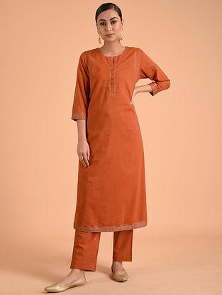 Orange Embroidered Cotton Kurta