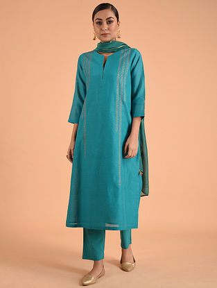 Turquoise Embroidered Silk Chanderi Kurta with Lining