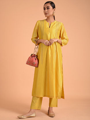 Yellow Embroidered Silk Chanderi Kurta with Lining