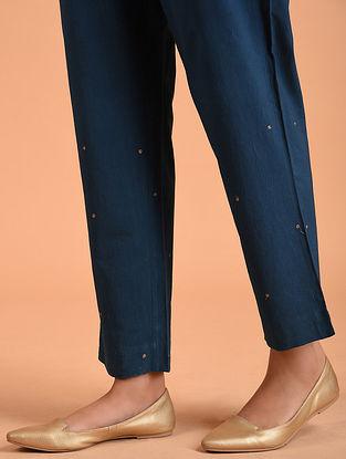 Indigo Embroidered Cotton Pants
