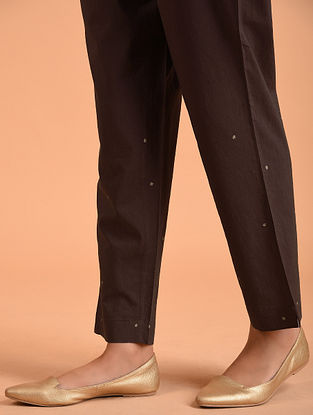 Brown Embroidered Cotton Pants