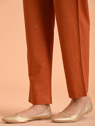 Orange Embroidered Cotton Pants