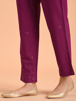 Wine Embroidered Cotton Pants