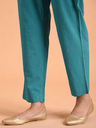 Turquoise Embroidered Cotton Pants
