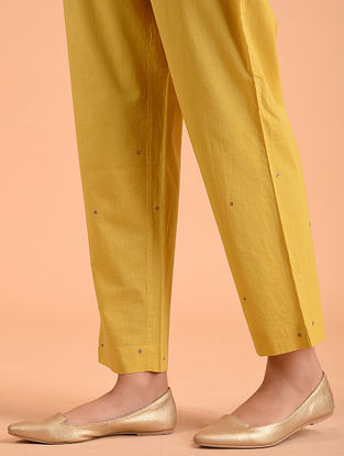 Yellow Embroidered Cotton Pants