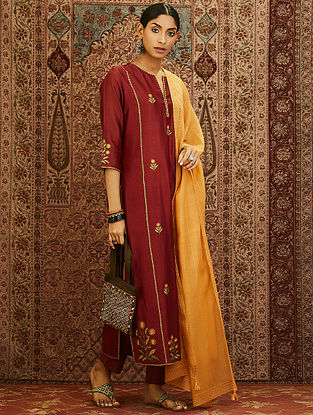 Maroon Embroidered Mercerized Chanderi Kurta with Lining