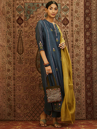 Grey Embroidered Mercerized Chanderi Kurta with Lining