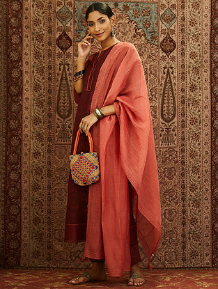 Maroon Block Printed Mercerized Chanderi Kurta with Embroidery