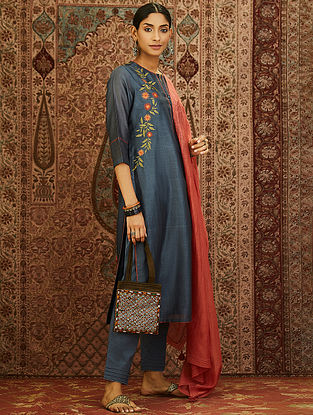 Grey Block Printed Mercerized Chanderi Kurta with Embroidery and Lining