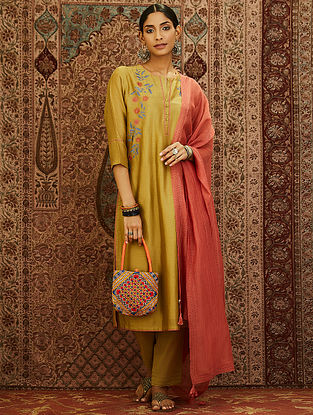Olive Block Printed Mercerized Chanderi Kurta with Embroidery and Lining