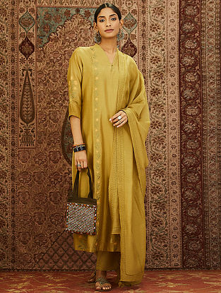 Olive Mercerized Chanderi Kurta with Embroidery and Lining