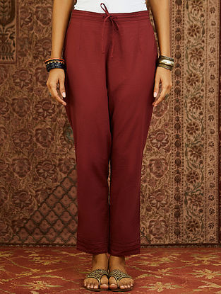 Maroon Cotton Cambric Pants with Scalloped Detail