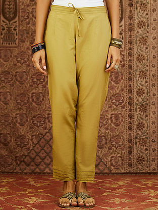 Olive Cotton Cambric Pants with Scalloped Detail