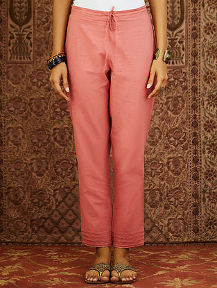 Peach Cotton Cambric Pants with Scalloped Detail