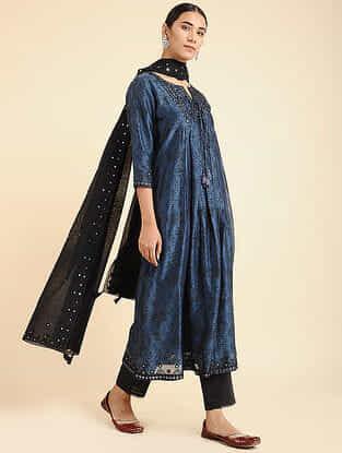 Blue Block Printed Chanderi kurta with Lining and Mirror Work