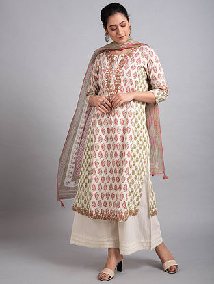 Pink Grey Block Printed Cotton Kurta with Embroidery