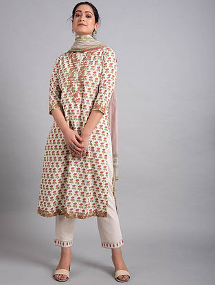 Pink Green Block Printed Cotton Kurta with Embroidery