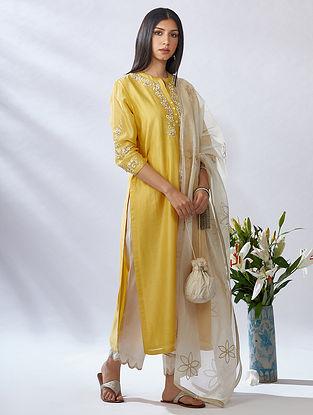 Yellow Gota Trimmed Mercerised Chanderi Kurta