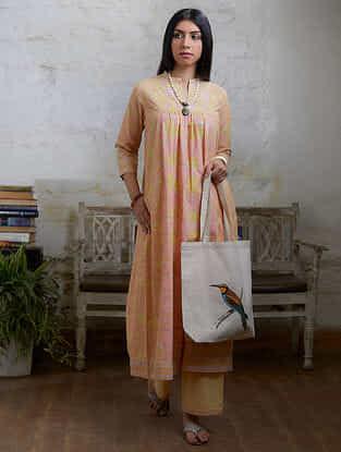 Peach Yellow Hand Block Printed Cotton Kurta