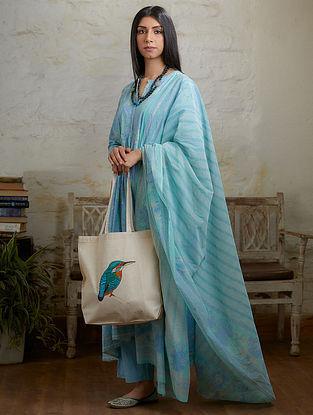 Blue Hand Block Printed Cotton Chanderi Dupatta with Tassel Details