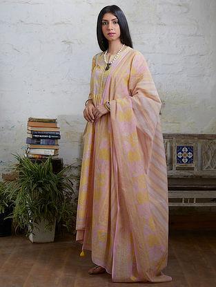 Pink yellow Hand Block Printed Cotton Chanderi Dupatta with Tassel Details