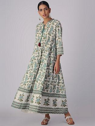 Ivory-Green Block-printed Organic Cotton Anarkali Kurta with Slip and Churidar (Set of 3)