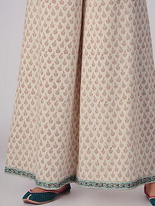 Ivory-Pink Tie-up Elasticated Waist Block-printed Organic Cotton Palazzos