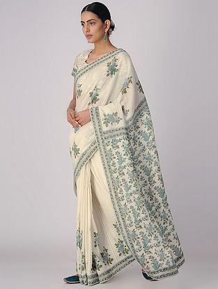 Ivory-Green Block-printed Organic Cotton Saree with Petticoat (Set of 2)