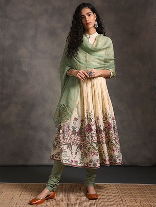 Green Kota Cotton Dupatta Zari