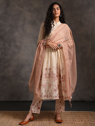 Peach Kota Cotton Dupatta Zari